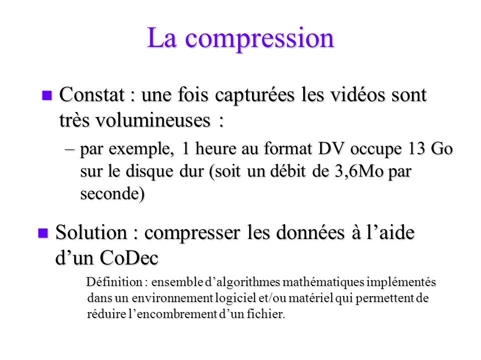 La compression Constat : une fois capturées les vidéos sont très volumineuses : Constat : une fois capturées les vidéos sont très volumineuses : –par