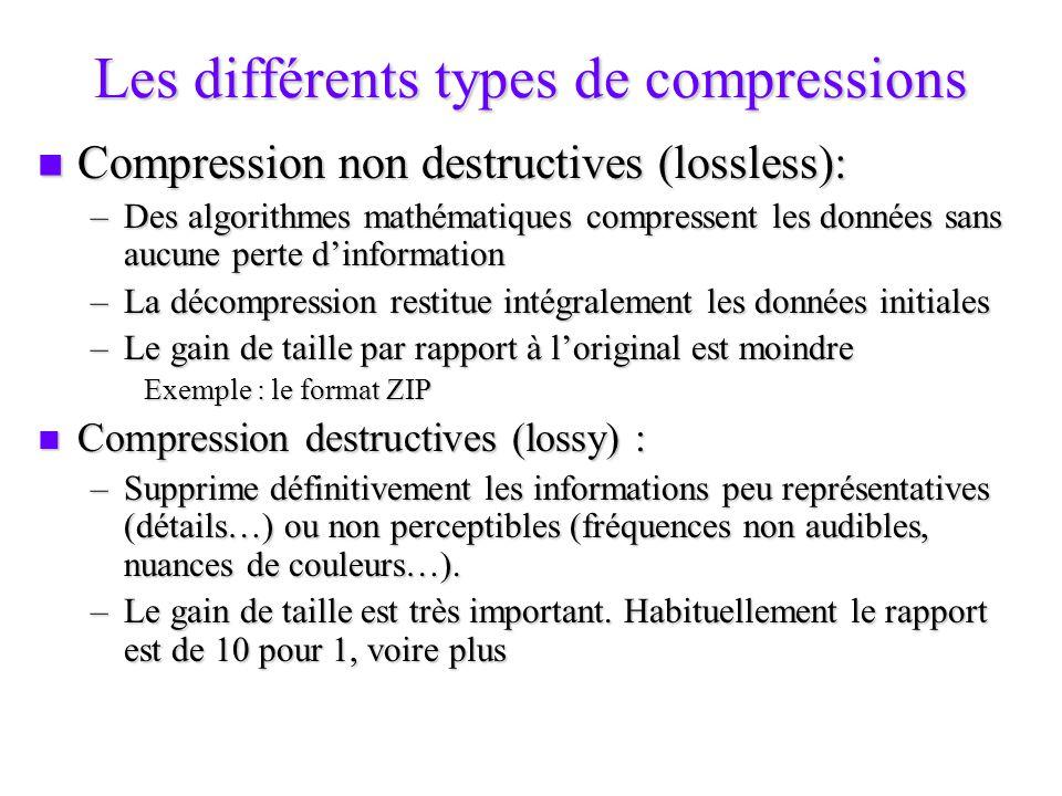 Les techniques de compression Compression spatiale Compression spatiale –On recherche sur une image fixe les éléments redondants : par un exemple un fond de couleur uni.