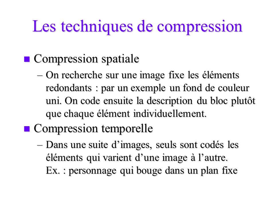 Les techniques de compression Compression spatiale Compression spatiale –On recherche sur une image fixe les éléments redondants : par un exemple un f