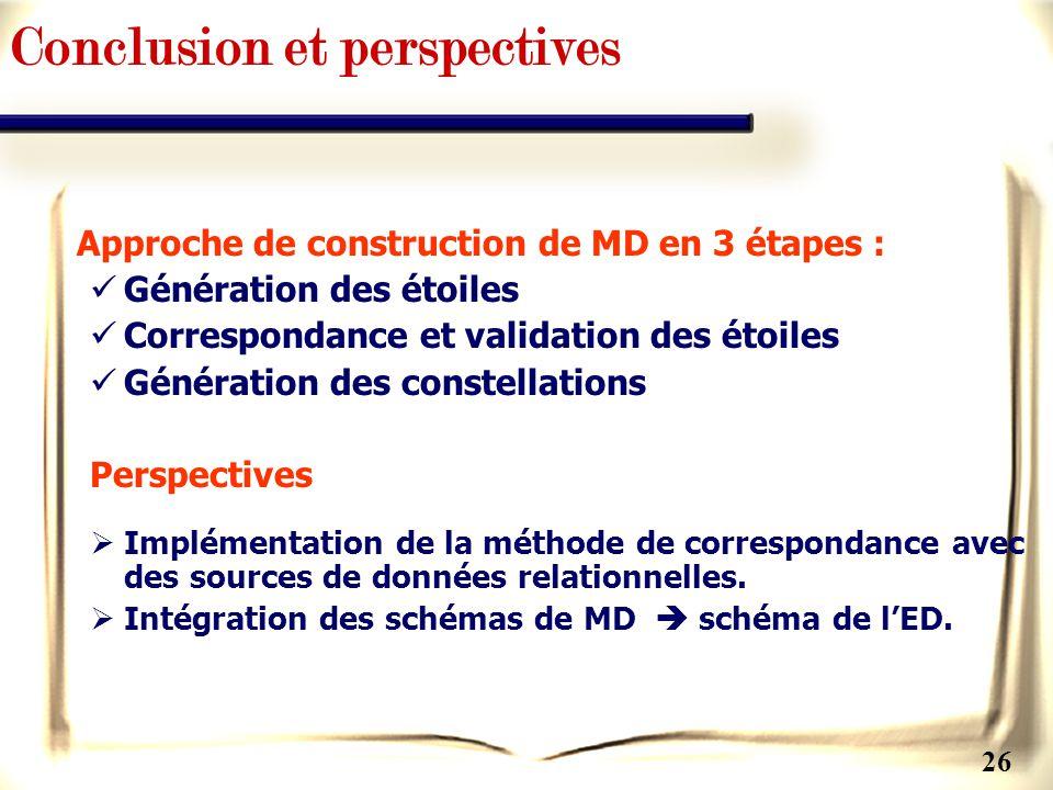 26 Conclusion et perspectives Approche de construction de MD en 3 étapes : Génération des étoiles Correspondance et validation des étoiles Génération