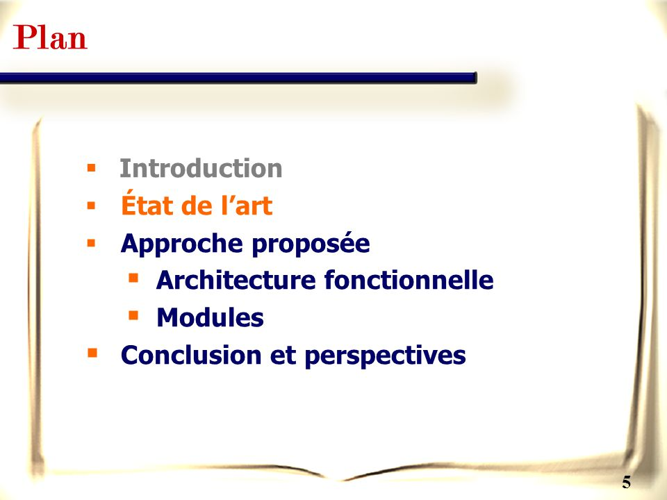 5 Plan Introduction État de lart Approche proposée Architecture fonctionnelle Modules Conclusion et perspectives