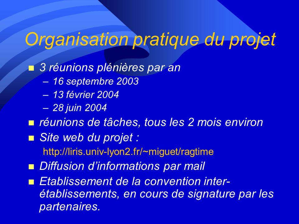 Plan de la présentation n Contexte du projet Þ Bilan de la première année, perspectives pour la deuxième année –Organisation pratique / administrative