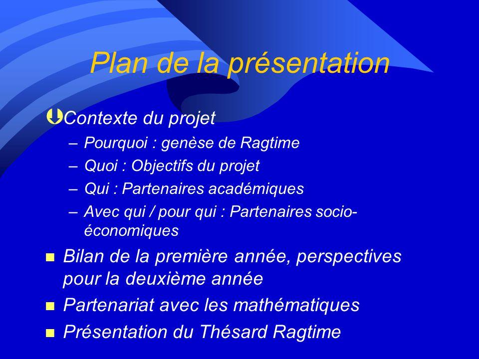 Plan de la présentation n Contexte du projet n Bilan de la première année, perspectives pour la deuxième année n Partenariat avec les mathématiques n