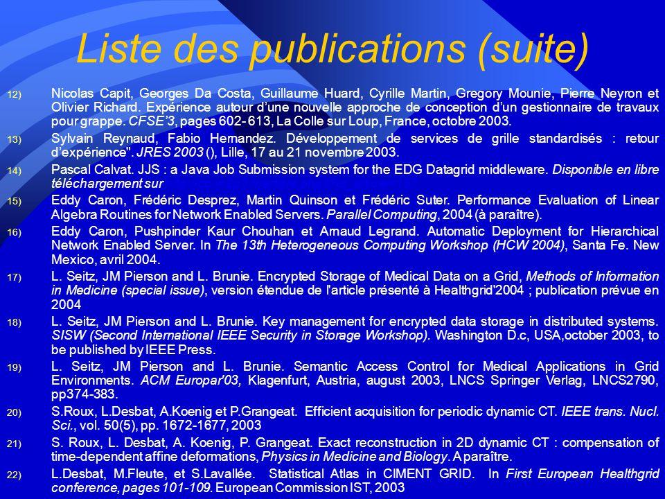 Liste des publications 1) David Coeurjolly, Serge Miguet et Laure Tougne. 2D and 3D visibility in discrete geometry: an application to discrete geodes