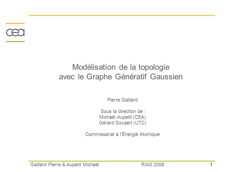 1 RIAS 2006 Gaillard Pierre & Aupetit Michaël Modélisation de la topologie avec le Graphe Génératif Gaussien Pierre Gaillard Sous la direction de : Mi
