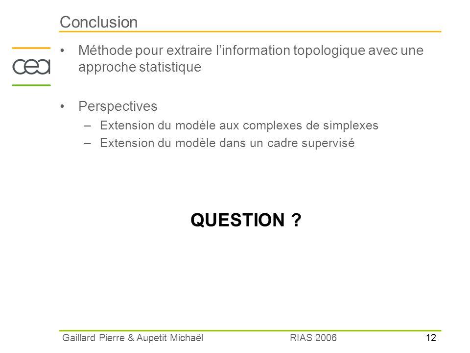 12 RIAS 2006 Gaillard Pierre & Aupetit Michaël Conclusion Méthode pour extraire linformation topologique avec une approche statistique Perspectives –E