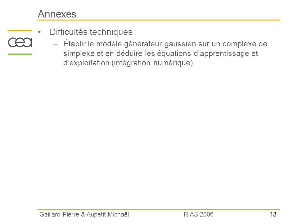 13 RIAS 2006 Gaillard Pierre & Aupetit Michaël Annexes Difficultés techniques –Établir le modèle générateur gaussien sur un complexe de simplexe et en