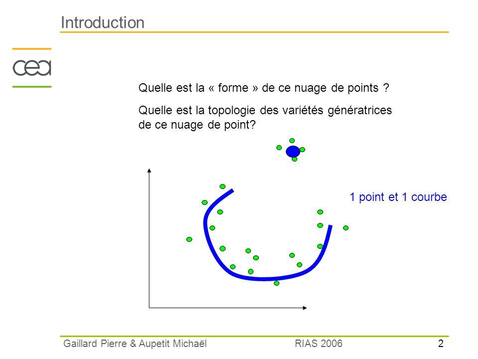 2 RIAS 2006 Gaillard Pierre & Aupetit Michaël Introduction Quelle est la « forme » de ce nuage de points ? Quelle est la topologie des variétés généra