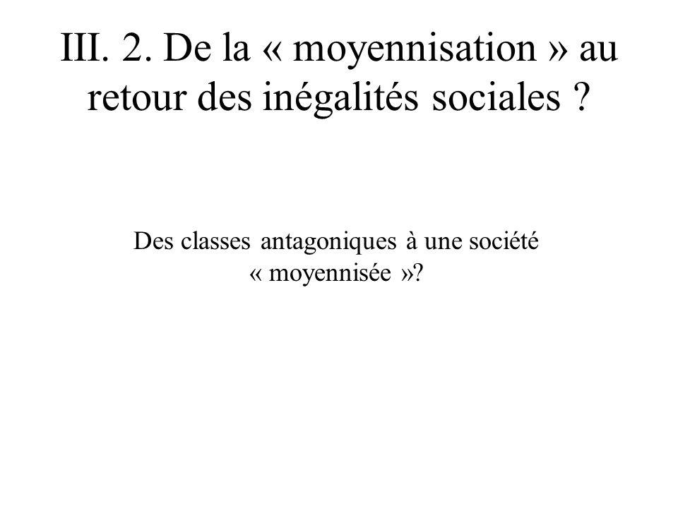 III. 2. De la « moyennisation » au retour des inégalités sociales ? Des classes antagoniques à une société « moyennisée »?