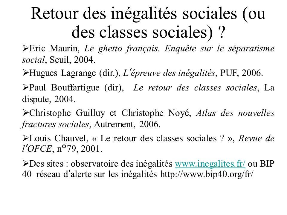 Retour des inégalités sociales (ou des classes sociales) ? Eric Maurin, Le ghetto français. Enquête sur le séparatisme social, Seuil, 2004. Hugues Lag