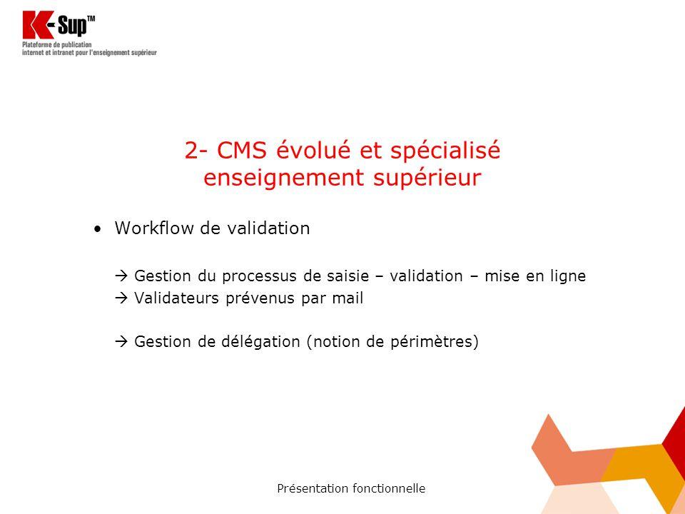 Présentation fonctionnelle 2- CMS évolué et spécialisé enseignement supérieur Workflow de validation Gestion du processus de saisie – validation – mise en ligne Validateurs prévenus par mail Gestion de délégation (notion de périmètres)