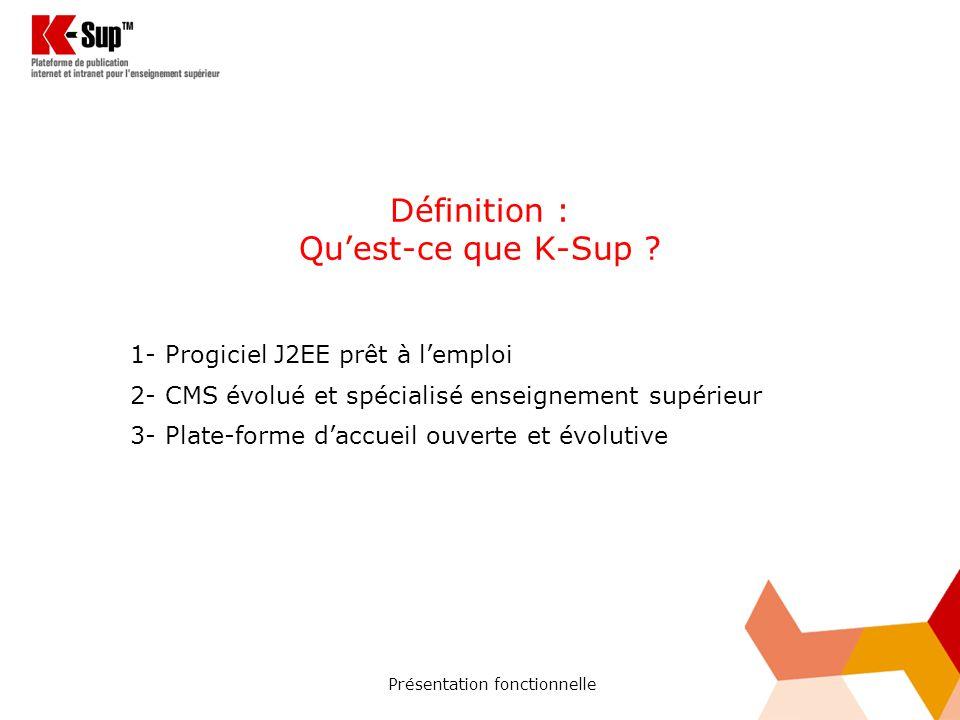 Présentation fonctionnelle Définition : Quest-ce que K-Sup .