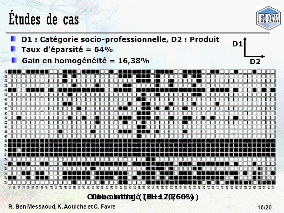 R. Ben Messaoud, K. Aouiche et C. Favre 16/20 Cube arrangé (IH=20,60%)Cube initial (IH=17,75%) Études de cas D1 : Catégorie socio-professionnelle, D2
