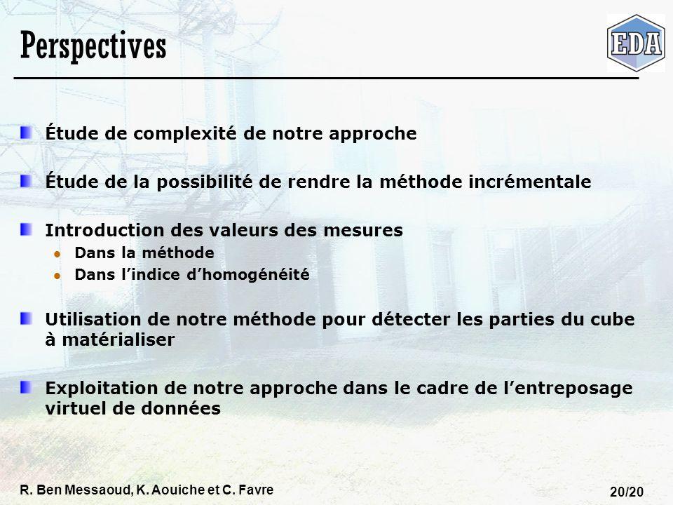 R. Ben Messaoud, K. Aouiche et C. Favre 20/20 Perspectives Étude de complexité de notre approche Étude de la possibilité de rendre la méthode incrémen