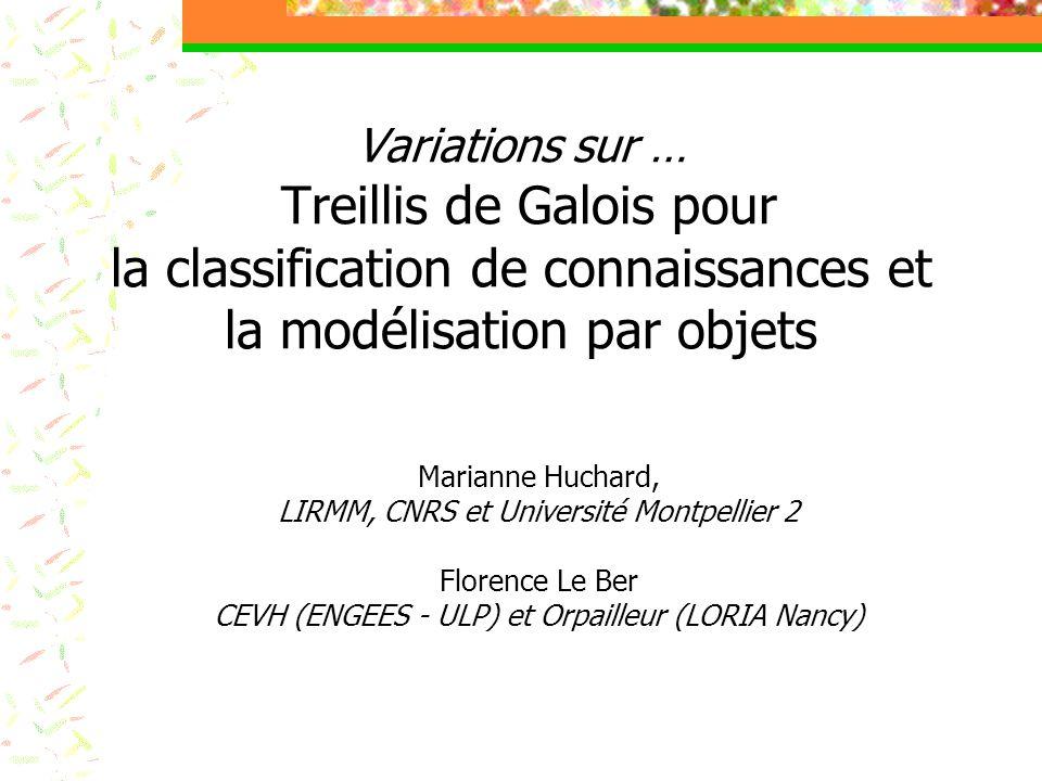 Variations sur … Treillis de Galois pour la classification de connaissances et la modélisation par objets Marianne Huchard, LIRMM, CNRS et Université Montpellier 2 Florence Le Ber CEVH (ENGEES - ULP) et Orpailleur (LORIA Nancy)