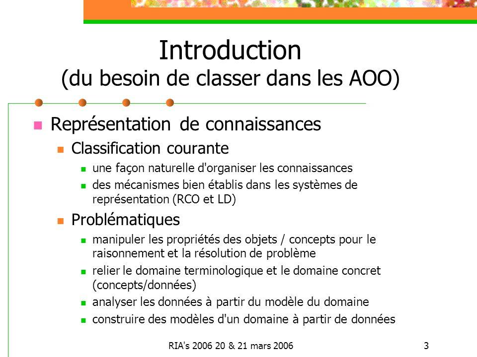 RIA's 2006 20 & 21 mars 20063 Introduction (du besoin de classer dans les AOO) Représentation de connaissances Classification courante une façon natur