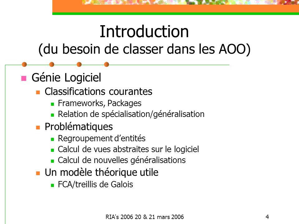 RIA's 2006 20 & 21 mars 20064 Introduction (du besoin de classer dans les AOO) Génie Logiciel Classifications courantes Frameworks, Packages Relation