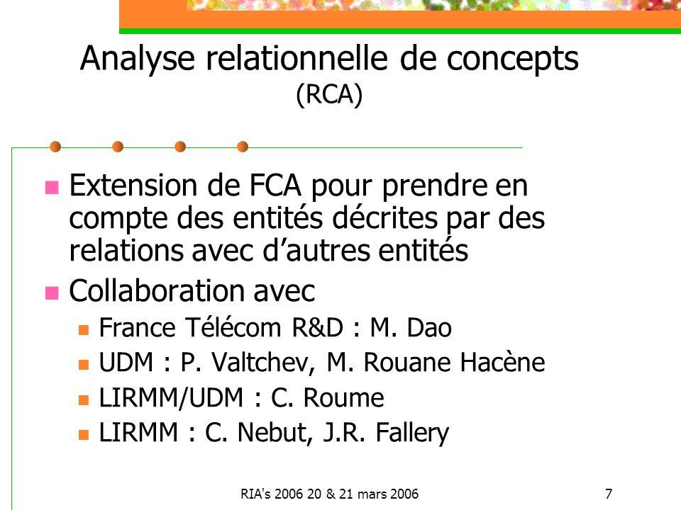 RIA s 2006 20 & 21 mars 20067 Analyse relationnelle de concepts (RCA) Extension de FCA pour prendre en compte des entités décrites par des relations avec dautres entités Collaboration avec France Télécom R&D : M.