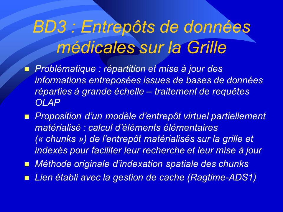 BD2 : Visualisation, recherche et manipulation des données n Problématique : recherche orientée patient de données complexes hétérogènes distribuées à