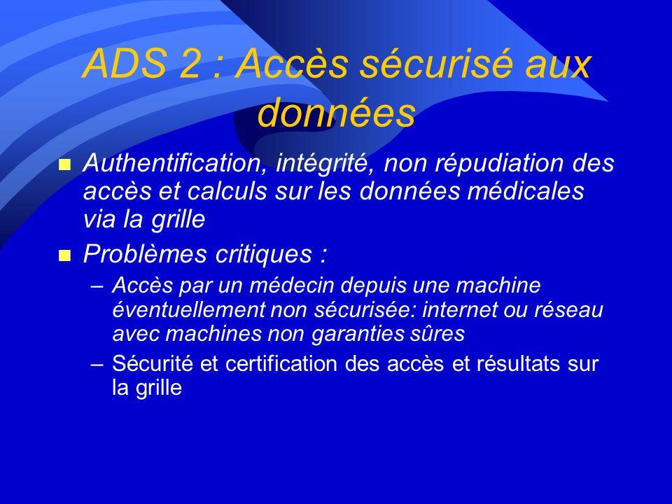 Lot 3 : mécanismes daccès aux données ADS1 : Accès efficace aux bases distantes (présentation de Yonny Cardenas) ADS 2 : Sécurisation des données et d