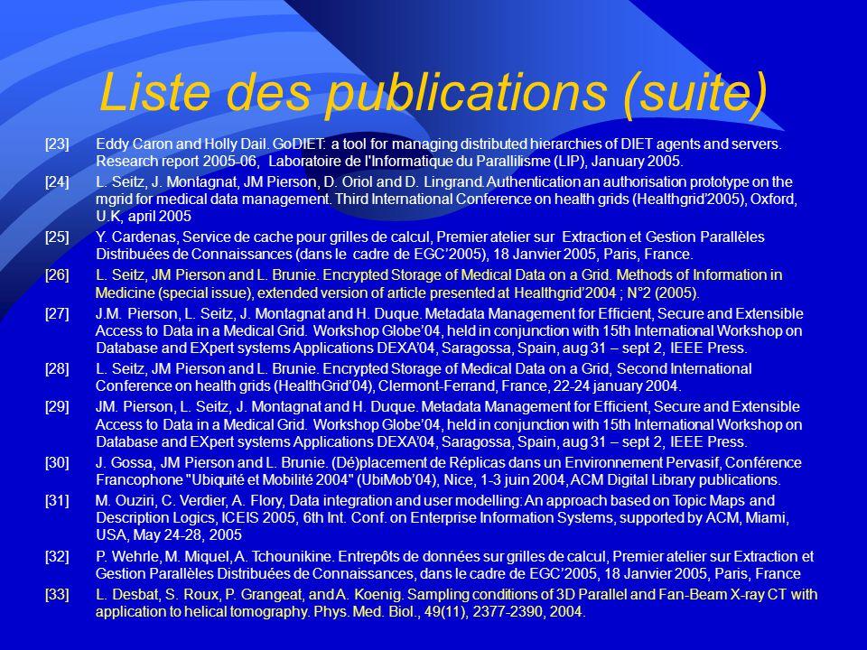 Liste des publications (suite) [12]S. Varrette, S. Georget, J.-L. Roch, and F. Leprevost. Authentification Distribuée sur Grille de Grappes basée sur