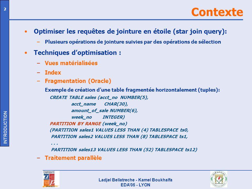 Ladjel Bellatreche - Kamel Boukhalfa EDA05 - LYON 2 Contexte Optimiser les requêtes de jointure en étoile (star join query): –Plusieurs opérations de