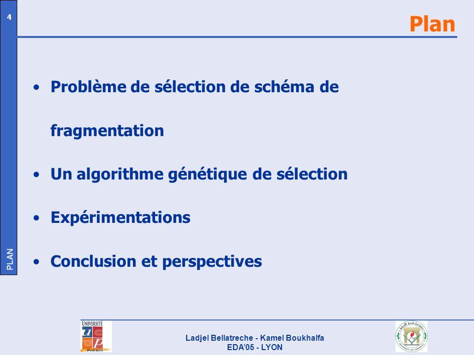 Ladjel Bellatreche - Kamel Boukhalfa EDA05 - LYON 4 Plan Problème de sélection de schéma de fragmentation Un algorithme génétique de sélection Expérim