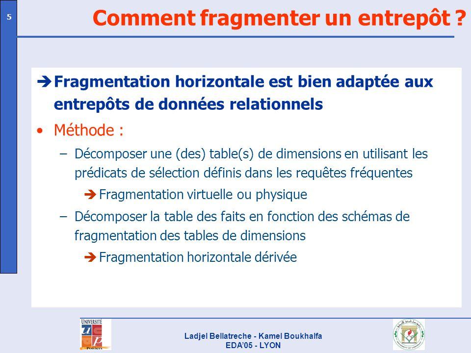Ladjel Bellatreche - Kamel Boukhalfa EDA05 - LYON 5 Comment fragmenter un entrepôt ? èFragmentation horizontale est bien adaptée aux entrepôts de donn