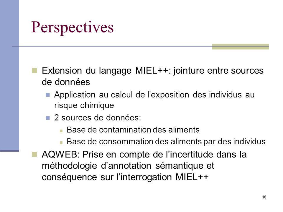 18 Perspectives Extension du langage MIEL++: jointure entre sources de données Application au calcul de lexposition des individus au risque chimique 2