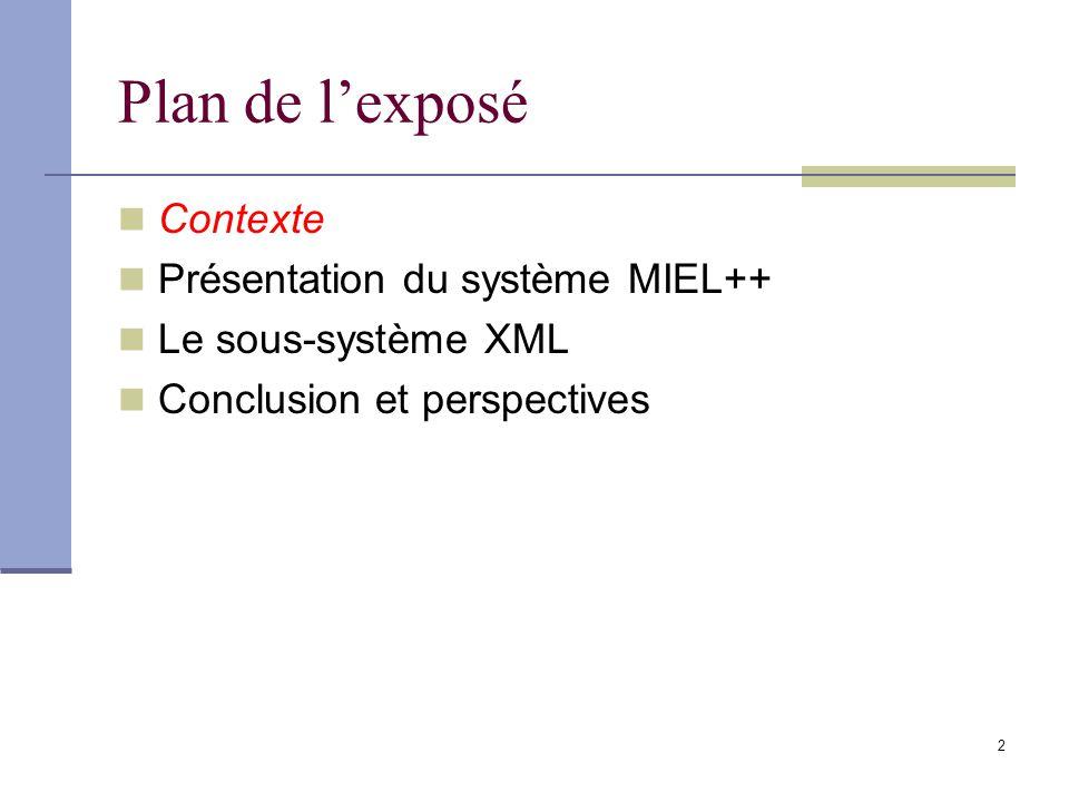 13 Plan de lexposé Contexte Présentation du système MIEL++ Le sous-système XML Conclusion et perspectives