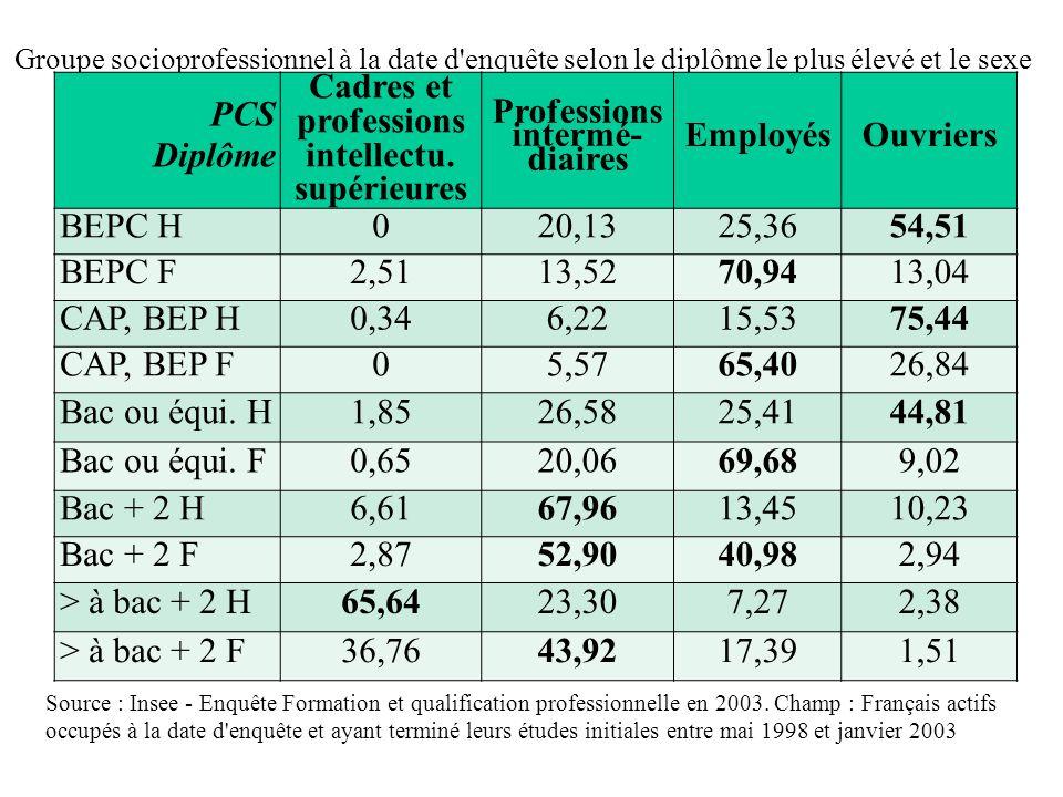 Groupe socioprofessionnel à la date d enquête selon le diplôme le plus élevé et le sexe Source : Insee - Enquête Formation et qualification professionnelle en 2003.