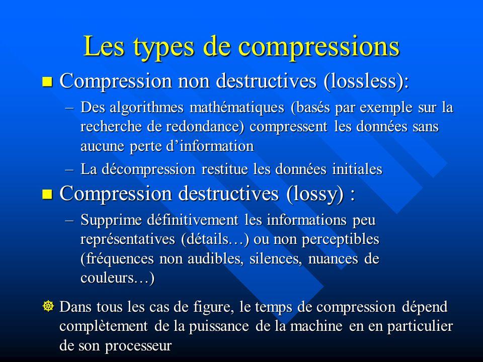 La compression Constat : les vidéos capturées sont très volumineuses : Constat : les vidéos capturées sont très volumineuses : –1 heure au format DV occupe 13 Go sur le disque dur –Nécessite un débit constant de 3,6 Mo par seconde (les meilleures connexions ADSL offrent 1Mo / s, lUSB 1 également) Solution : compresser les données Solution : compresser les données