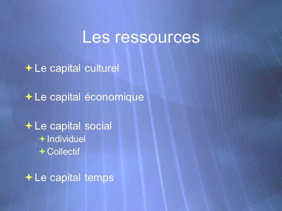 Les ressources Le capital culturel Le capital économique Le capital social Individuel Collectif Le capital temps Le capital culturel Le capital économique Le capital social Individuel Collectif Le capital temps