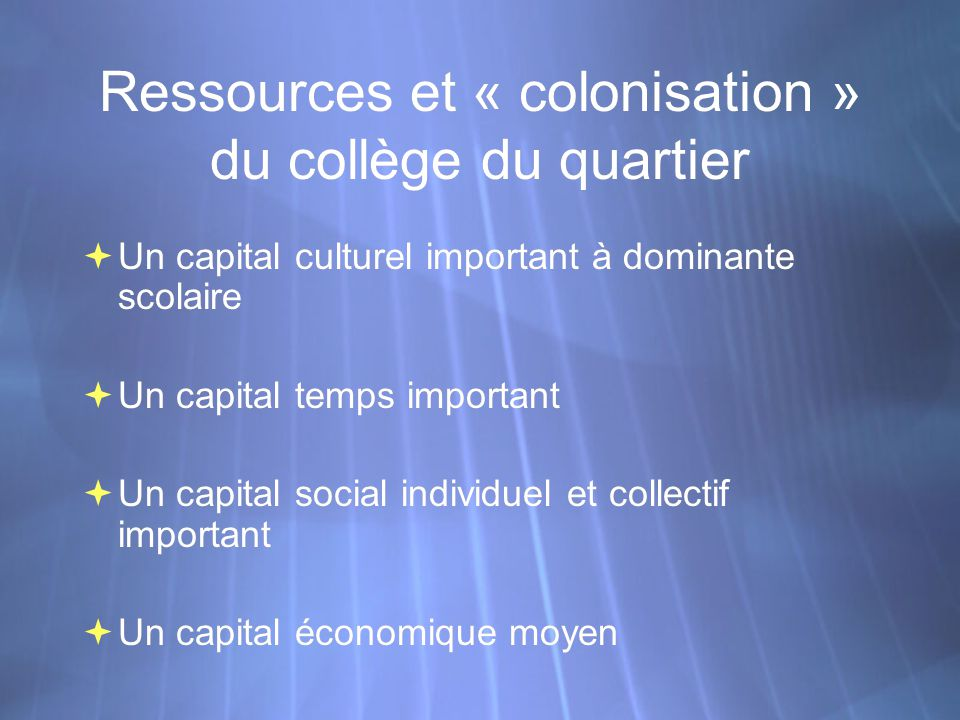 Ressources et « colonisation » du collège du quartier Un capital culturel important à dominante scolaire Un capital temps important Un capital social individuel et collectif important Un capital économique moyen Un capital culturel important à dominante scolaire Un capital temps important Un capital social individuel et collectif important Un capital économique moyen