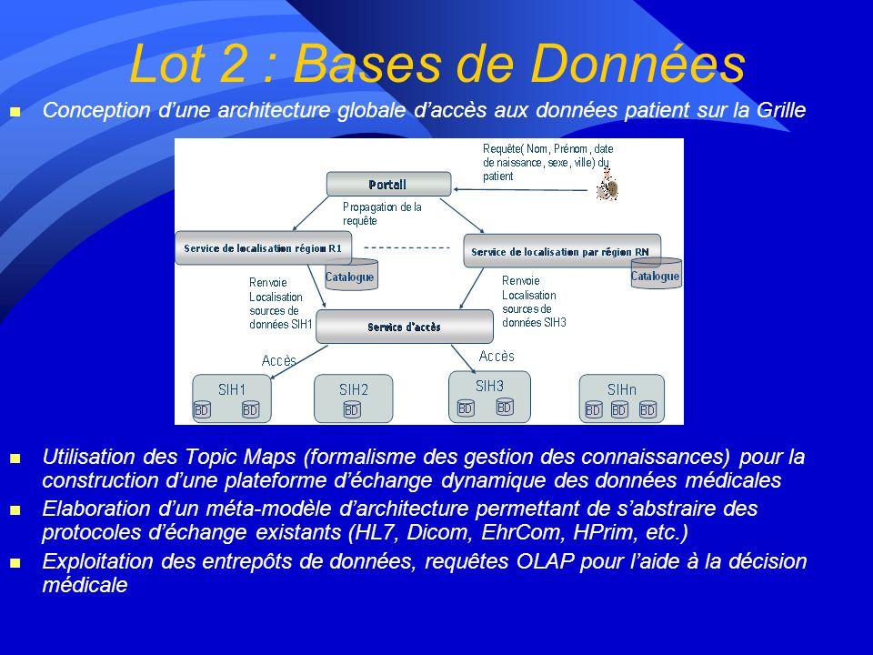 Lot 2 : Bases de Données n Conception dune architecture globale daccès aux données patient sur la Grille n Utilisation des Topic Maps (formalisme des gestion des connaissances) pour la construction dune plateforme déchange dynamique des données médicales n Elaboration dun méta-modèle darchitecture permettant de sabstraire des protocoles déchange existants (HL7, Dicom, EhrCom, HPrim, etc.) n Exploitation des entrepôts de données, requêtes OLAP pour laide à la décision médicale