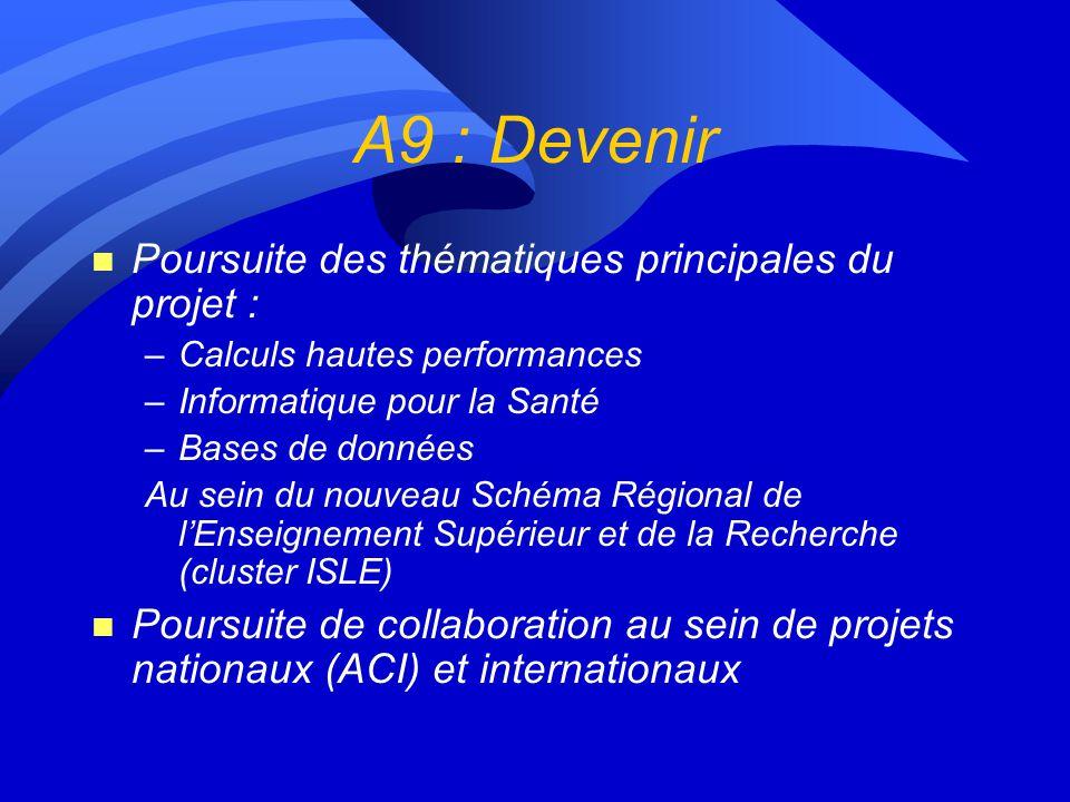 A9 : Devenir n Poursuite des thématiques principales du projet : –Calculs hautes performances –Informatique pour la Santé –Bases de données Au sein du nouveau Schéma Régional de lEnseignement Supérieur et de la Recherche (cluster ISLE) n Poursuite de collaboration au sein de projets nationaux (ACI) et internationaux