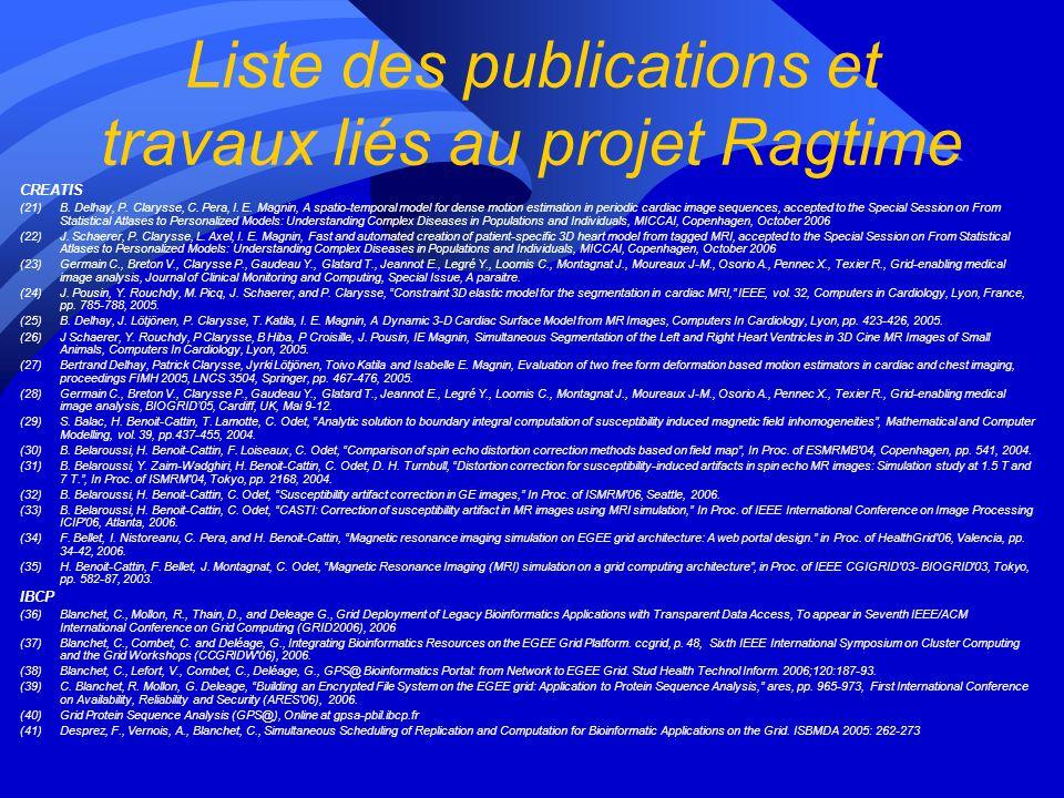 Liste des publications et travaux liés au projet Ragtime CREATIS (21)B.