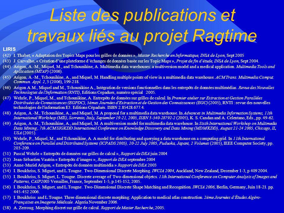 Liste des publications et travaux liés au projet Ragtime LIRIS (42)I.