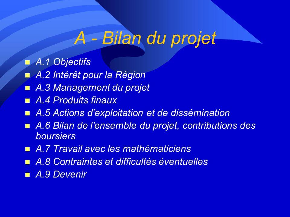 A - Bilan du projet n A.1 Objectifs n A.2 Intérêt pour la Région n A.3 Management du projet n A.4 Produits finaux n A.5 Actions dexploitation et de dissémination n A.6 Bilan de lensemble du projet, contributions des boursiers n A.7 Travail avec les mathématiciens n A.8 Contraintes et difficultés éventuelles n A.9 Devenir