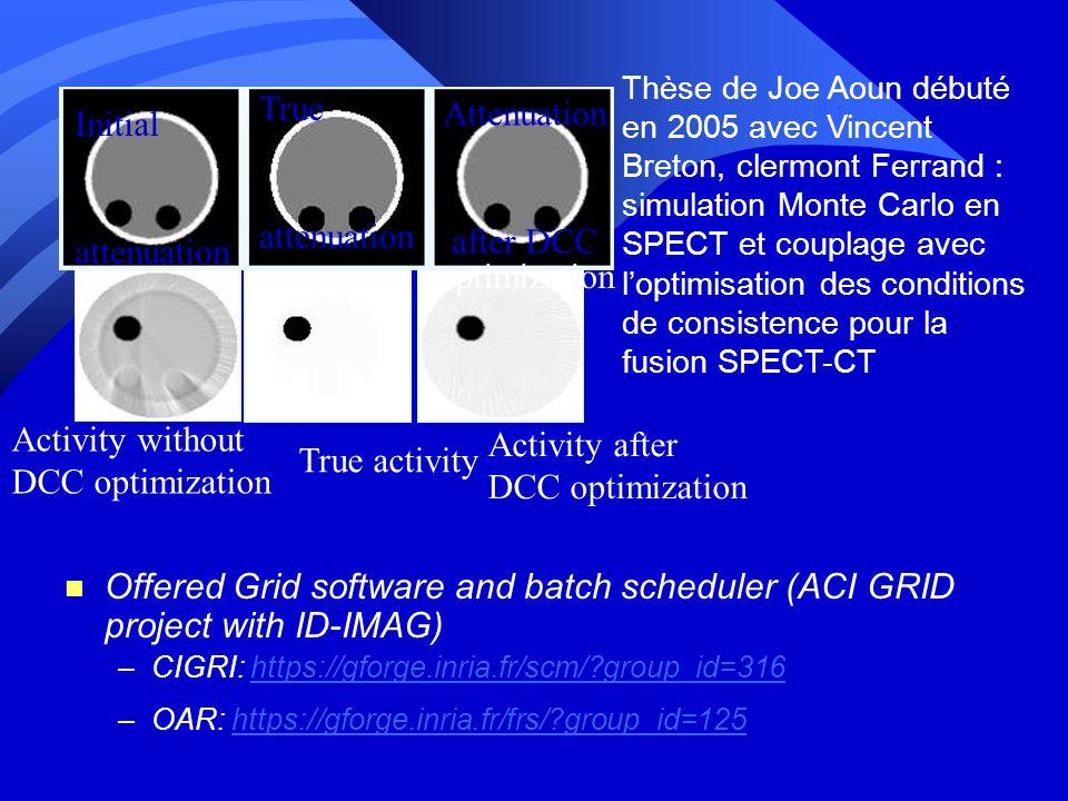 n Offered Grid software and batch scheduler (ACI GRID project with ID-IMAG) –CIGRI: https://gforge.inria.fr/scm/?group_id=316https://gforge.inria.fr/scm/?group_id=316 –OAR: https://gforge.inria.fr/frs/?group_id=125https://gforge.inria.fr/frs/?group_id=125 True activity Activity after DCC optimization Activity without DCC optimization True attenuation Initial attenuation Attenuation after DCC optimization Thèse de Joe Aoun débuté en 2005 avec Vincent Breton, clermont Ferrand : simulation Monte Carlo en SPECT et couplage avec loptimisation des conditions de consistence pour la fusion SPECT-CT