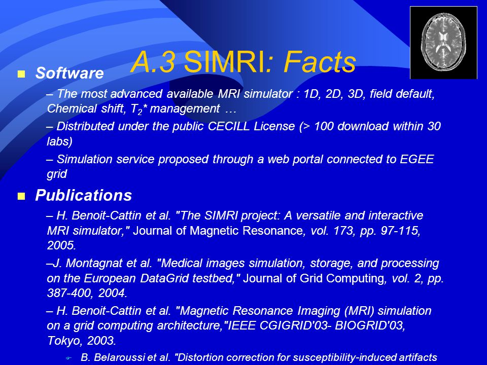 A.3 SIMRI: Facts n Software – The most advanced available MRI simulator : 1D, 2D, 3D, field default, Chemical shift, T 2 * management … – Distributed