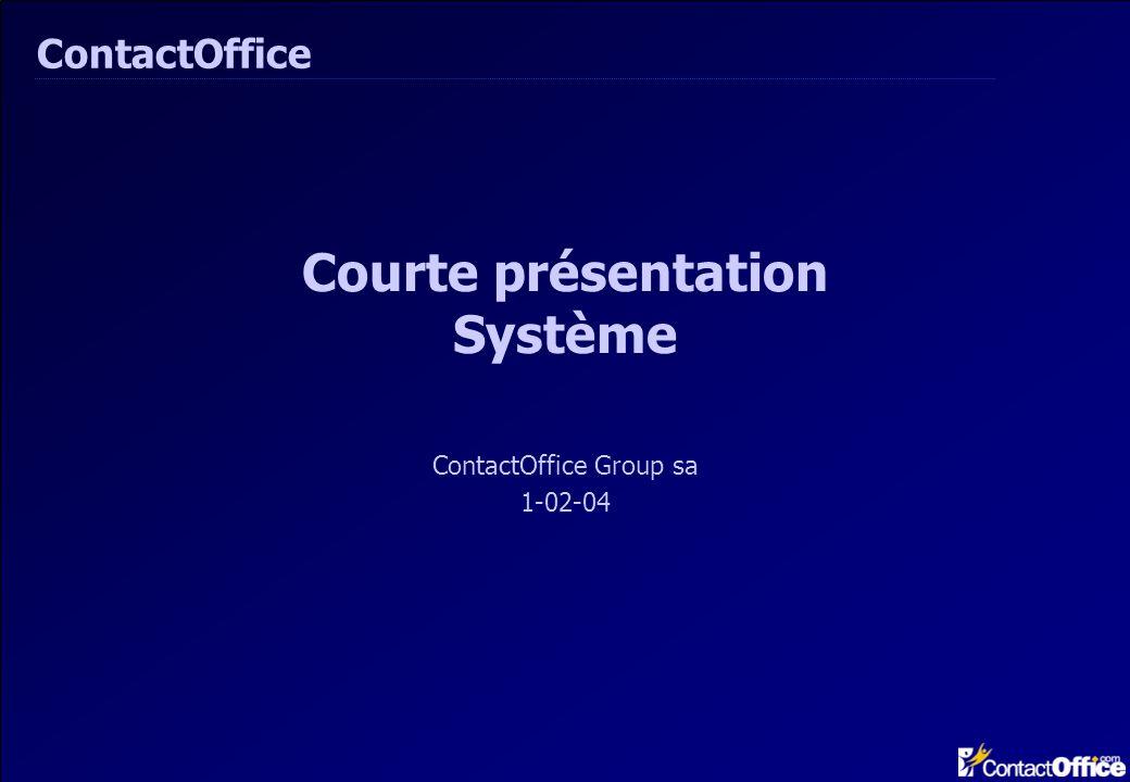 Courte présentation Système ContactOffice Group sa 1-02-04 ContactOffice