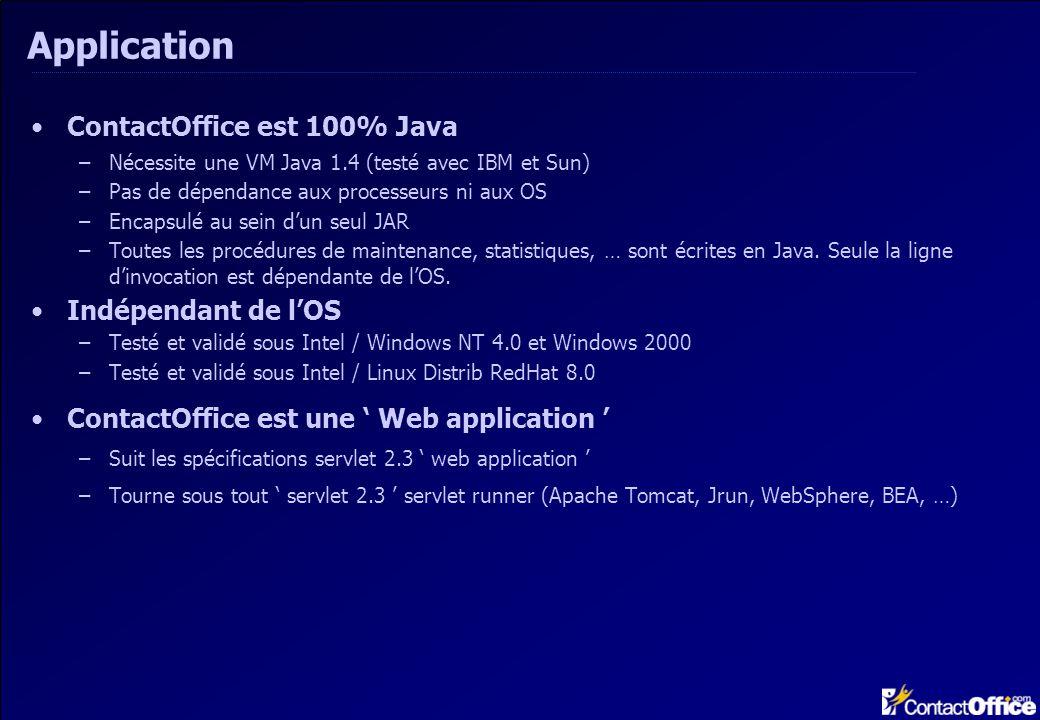 Application ContactOffice est 100% Java –Nécessite une VM Java 1.4 (testé avec IBM et Sun) –Pas de dépendance aux processeurs ni aux OS –Encapsulé au sein dun seul JAR –Toutes les procédures de maintenance, statistiques, … sont écrites en Java.