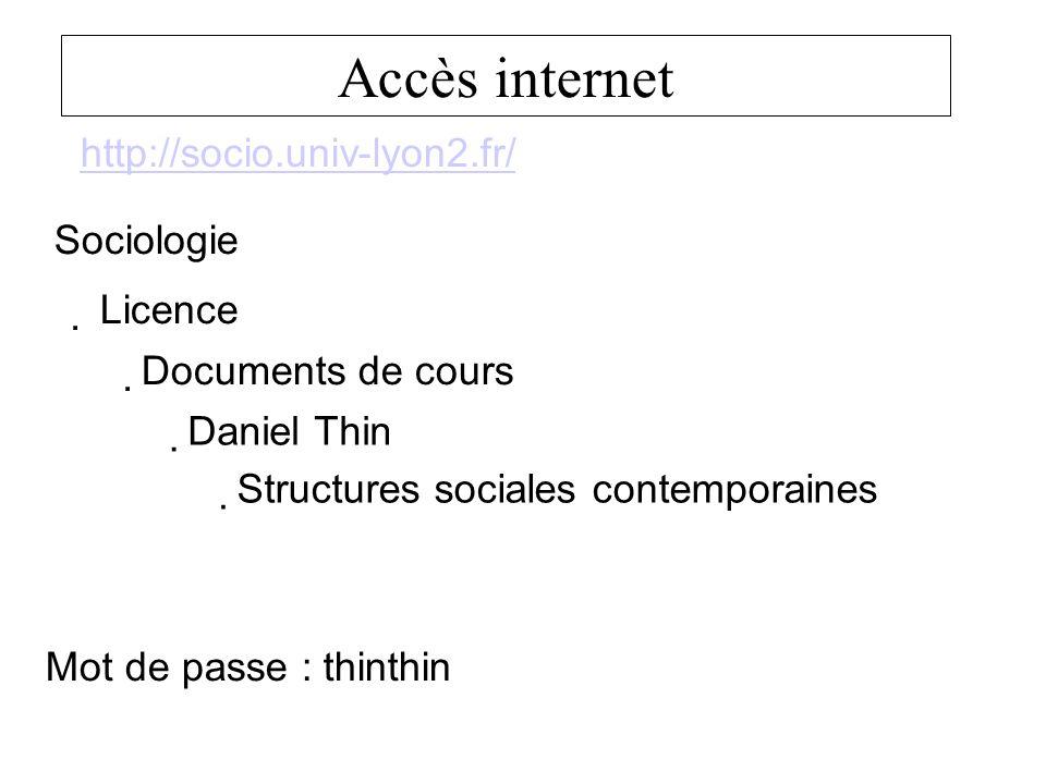 Accès internet http://socio.univ-lyon2.fr/ Sociologie Mot de passe : thinthin Licence Documents de cours Daniel Thin Structures sociales contemporaines