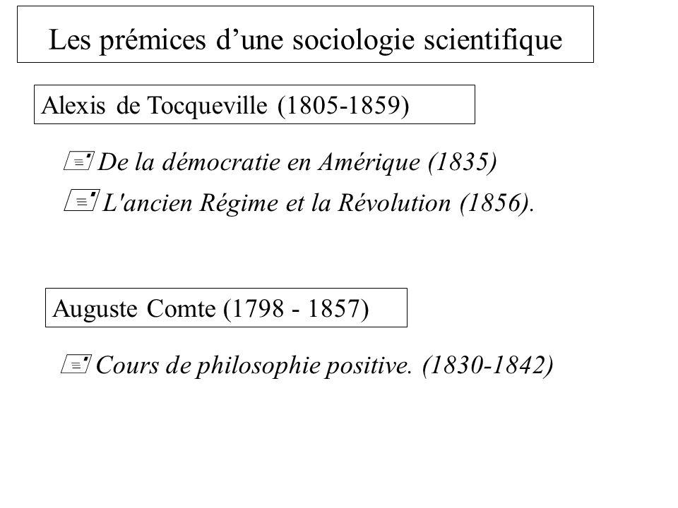 Les prémices dune sociologie scientifique Alexis de Tocqueville (1805-1859) De la démocratie en Amérique (1835) L ancien Régime et la Révolution (1856).