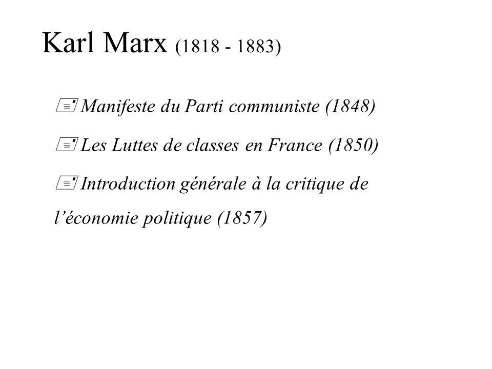 Manifeste du Parti communiste (1848) Les Luttes de classes en France (1850) Introduction générale à la critique de léconomie politique (1857) Karl Marx (1818 - 1883)