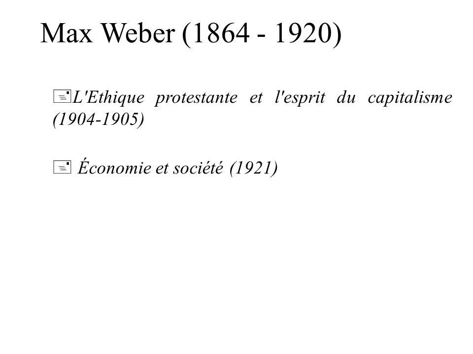 Max Weber (1864 - 1920) L Ethique protestante et l esprit du capitalisme (1904-1905) Économie et société (1921)