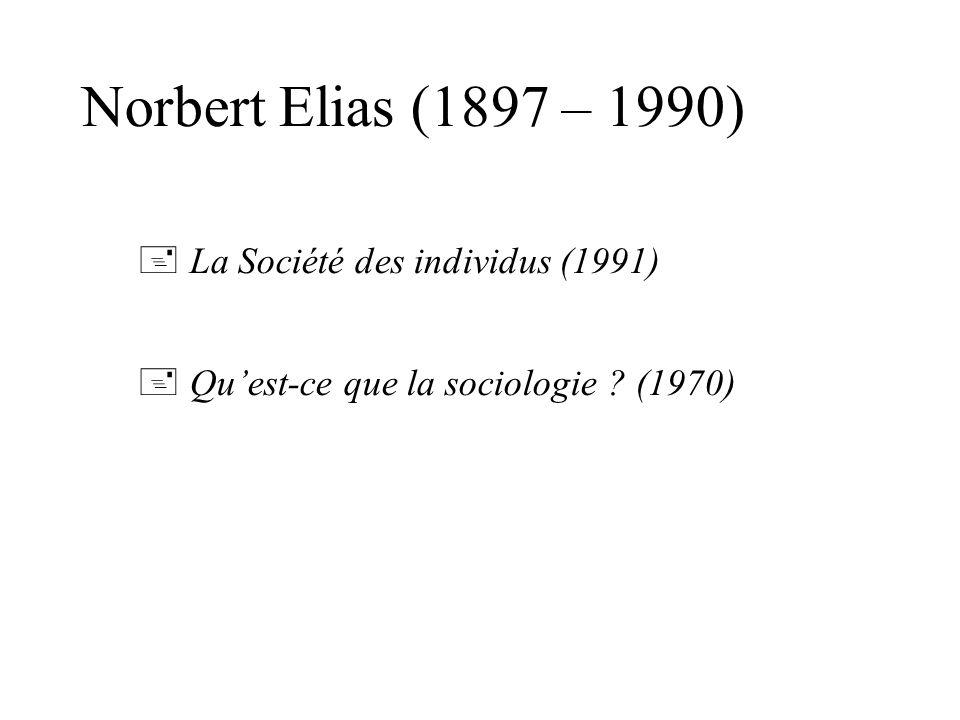 Norbert Elias (1897 – 1990) La Société des individus (1991) Quest-ce que la sociologie ? (1970)