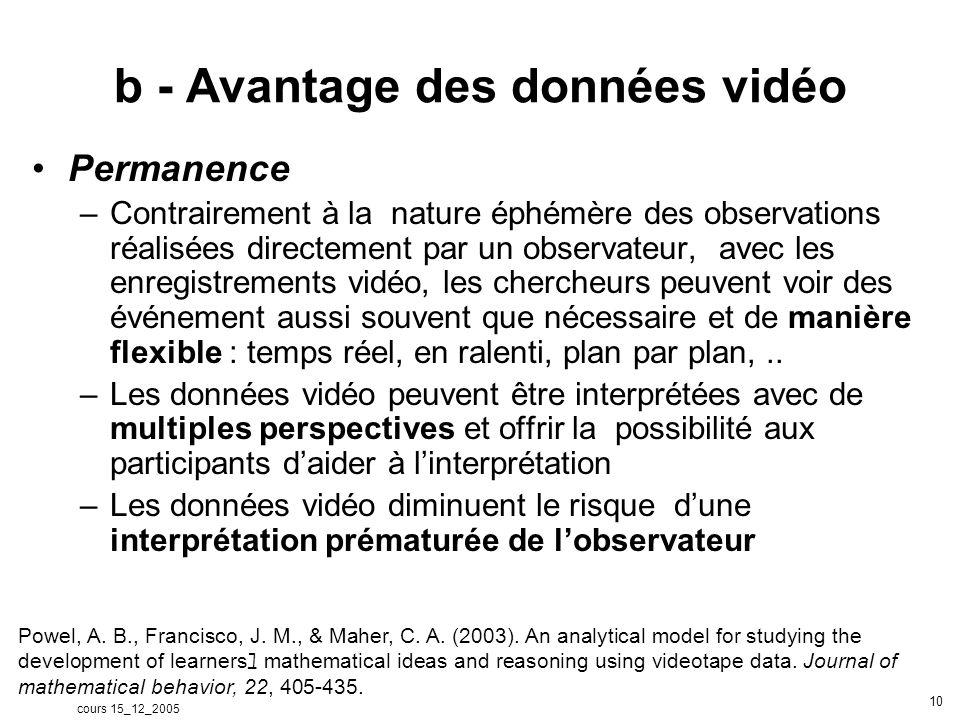 cours 15_12_2005 10 b - Avantage des données vidéo Permanence –Contrairement à la nature éphémère des observations réalisées directement par un observateur, avec les enregistrements vidéo, les chercheurs peuvent voir des événement aussi souvent que nécessaire et de manière flexible : temps réel, en ralenti, plan par plan,..