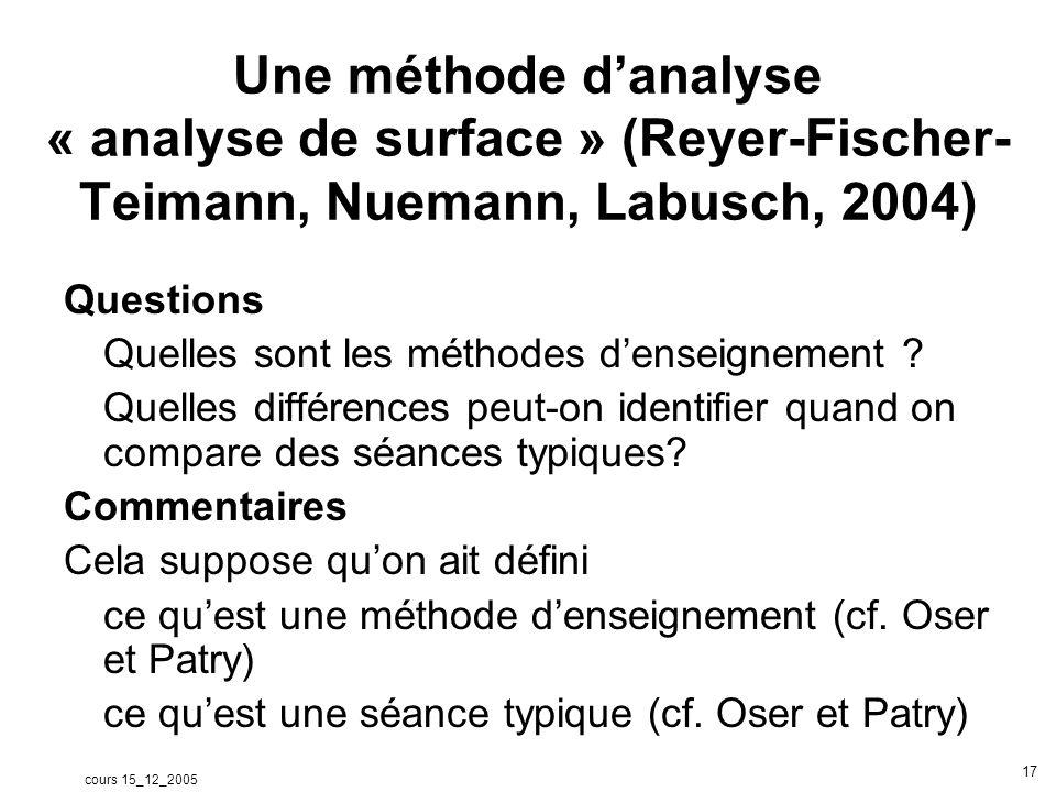 cours 15_12_2005 17 Une méthode danalyse « analyse de surface » (Reyer-Fischer- Teimann, Nuemann, Labusch, 2004) Questions Quelles sont les méthodes d